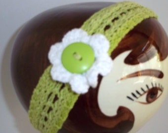 Knitted Green Cotton Headband with White Flower