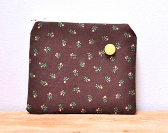 CLEARANCE- Brown Floral Zipper Pouch with Yellow Vintage Button