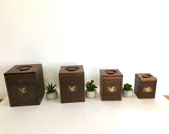Wooden Kitchen Containers - Set of 4  - Americana - Brass Eagle Accents - Jar Set - Kitchen Jars - Kitchen Storage - Mid Century