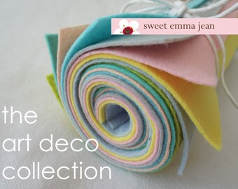 9x12 Wool Felt Sheets - The Art Deco Collection - 8 Sheets of Wool Blend Felt - Retro Colors