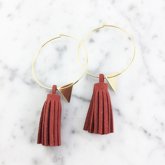 Hoop red glands earring, ring, gold, nickel free, triangle, 3,5cm, les perles rares