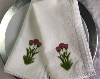 Pink Tulips Deluxe Flour Sack Cotton Napkin Dining Decor Set of 2 #Gift #Dining  Decor