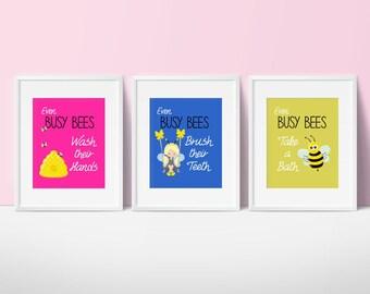Girls Bathroom Decor, Bumble Bee Print, Bee Bathroom