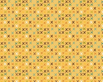 Giraffe Crossing - Giraffe Tic Tac Yellow  - Half Yard Cut - Riley Blake Designs - Cotton Fabric