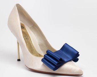 Navy Blue Satin Ribbon Bow Shoe Clips Set Of Two, More Colors Available