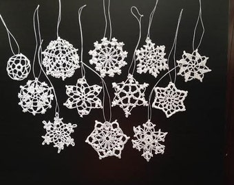 Christmas crochet Snowflake Ornaments. Set of 12 in 12 different designs.