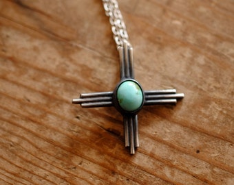Turquoise Zia Sun Symbol | Sterling Silver | Necklace