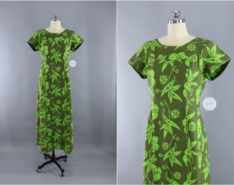 Vintage 1960s Hawaiian Print Dress / Maxi Dress / Aloha Dress / Olive Green Floral Print / Loke Hawaii / Watteau Train