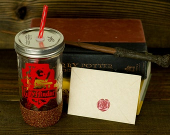 Gryffindor Glass Tumbler// Hogwarts House Tumbler // Harry Potter Gift Set