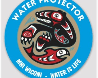 "WATER PROTECTOR - Bear/Salmon  3"" Weatherproof Sticker"