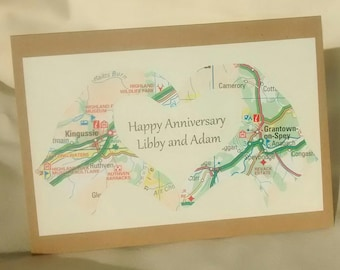 Map anniversary card etsy
