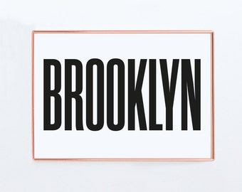 Brookyln, Graphic art, USA, Black and White Art Typography Poster, New york wall art, Brookyln Poster,NYC Print, NYC Art,