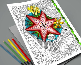 Zentangle Adult Coloring Page - Instant Download Printable