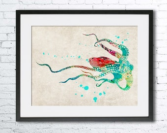Octopus watercolor print, Old paper watercolor, Octopus poster, Vintage paper print, Octopus art print, Homer decor, Old paper wall art