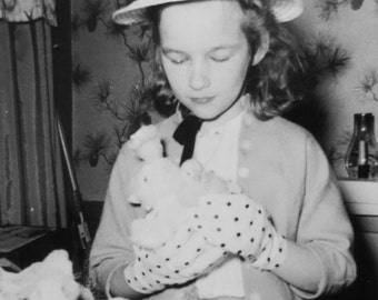 In Her Easter Bonnet - 1950's Little Girl and Her Ducklings Snapshot Photo - Free Shipping