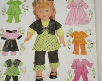 Doll clothes pattern Simplicity 2458 Sundress, Top, Shrug, Pants, Scarf, Skirt and Jacket for 18 Inch Dolls