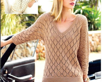 Original Sirdar knitting pattern for a ladies round and V neck jumper - double knit - includes larger sizes up to 54 inch / 137 cm