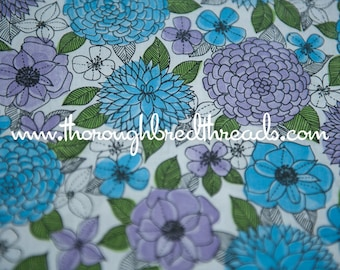 Purple and Blue Flower Power - Vintage Fabric Mod Juvenile Colorful Daisies Mod Garden 60s 70s New Old Stock