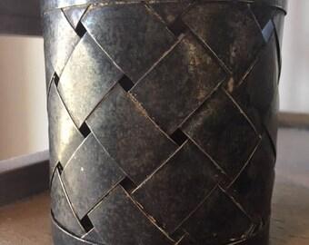 Vintage Basketweave Metal Tin