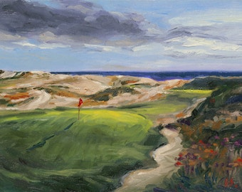 Golf Art. Golf Wall Decor. Golf Gift. The Maidstone Golf Club, NY, Hole #8. Print of original oil painting.