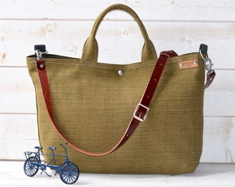Green Linen tote bag, Carry all, Diaper bag, Messenger bag, Work bag, Leather straps, Travel bag, Zipper and 5 Pockets