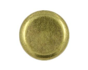 Metal Buttons - Flat Antique Brass Metal Shank Buttons , 0.79 inch , 10 pcs