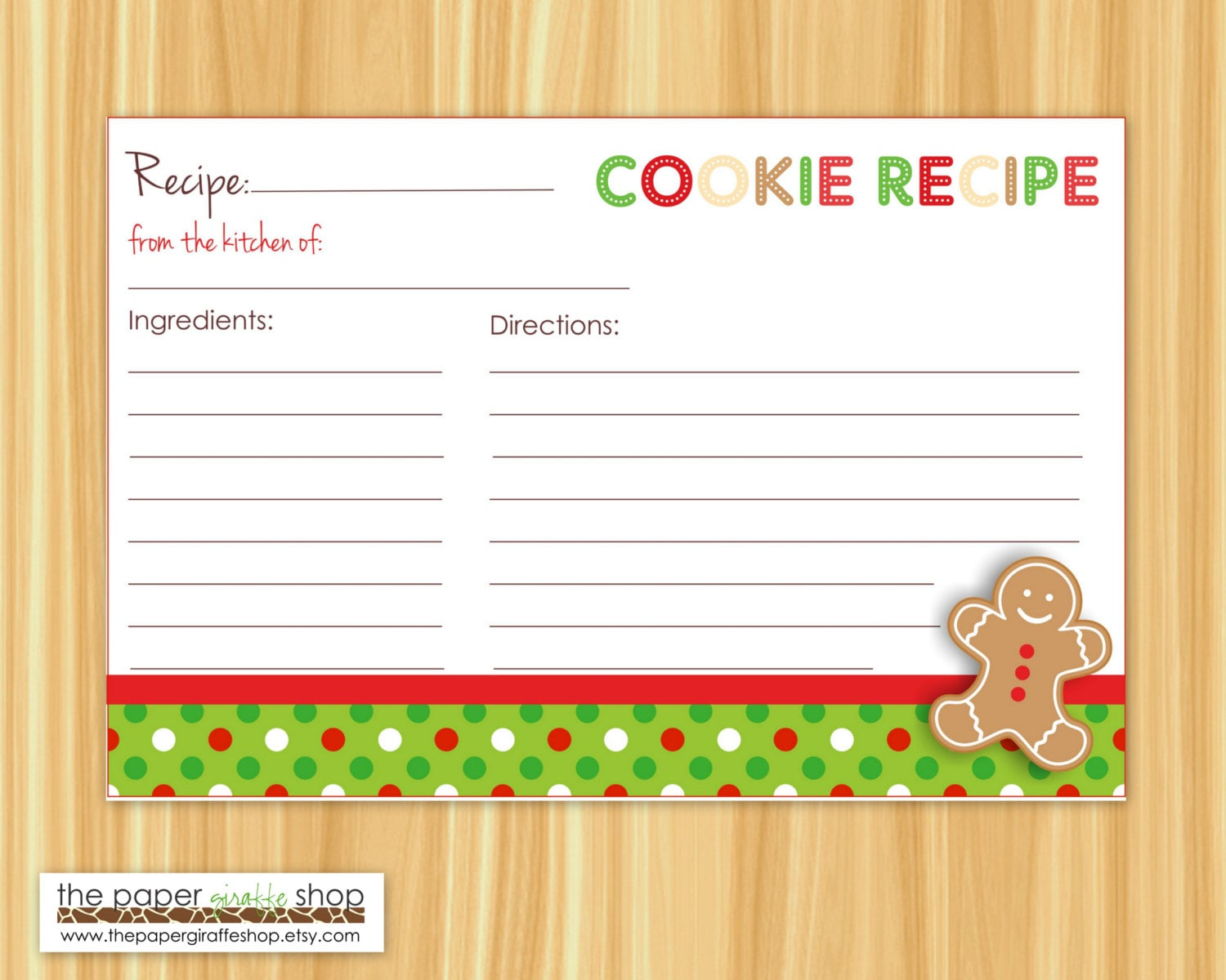 Editable Cookie Exchange Party Recipe Cards And Blank