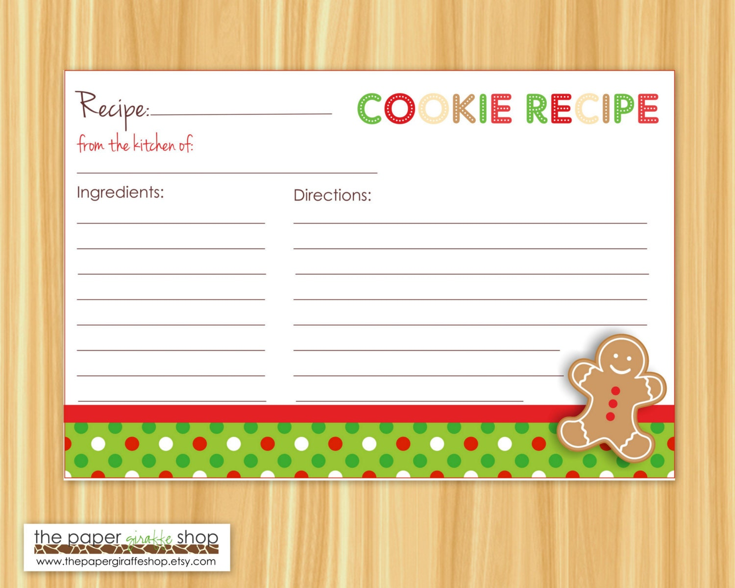 Editable Cookie Exchange Party Recipe Cards Editable and Blank