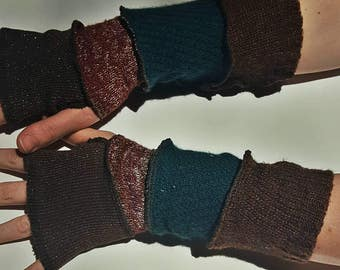 patchwork recycled sweater arm warmers - brown sparkle, red, green