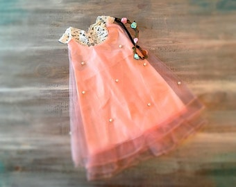 2 pc set /Blush Pink Dress with pearls.....