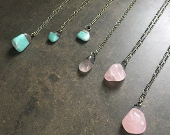 Rose Quartz or Amazonite Drop Necklace ~ Simple Electroplated