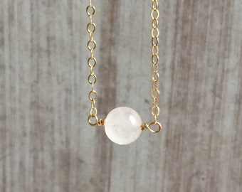 rose quartz rose quartz necklace rose quartz gold filled,dainty necklace minimalist,gift for her,heart chakra necklace,mothers day gifts