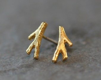 Tiny Branch Stud Earrings in 18K Gold Plate