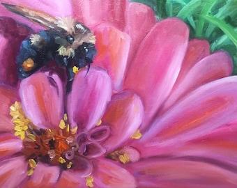Just pollenating, oil painting, flower art, bee art, country art, original art