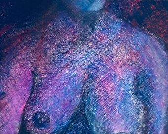 Original artwork, unsure girl, coloured pencil
