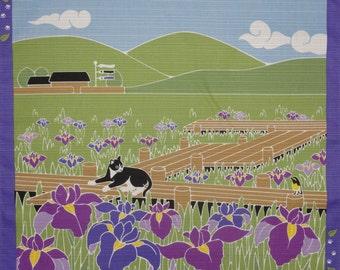 Cat Fabric Panel Japanese Furoshiki 'Tama in the Irises' Cotton Purple and Green 50cm w/Free Insured Shipping