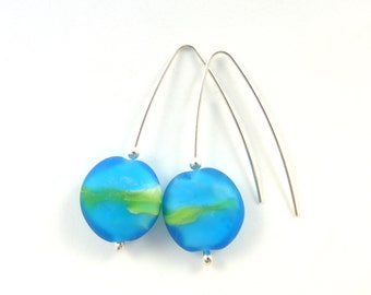 Aqua blue and green glass bead earrings on sterling silver findings (small)