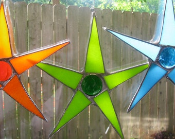 South Pacific Palette- Papaya Orange, Coconut Green and Ocean Turquoise 8 inch stained glass stars