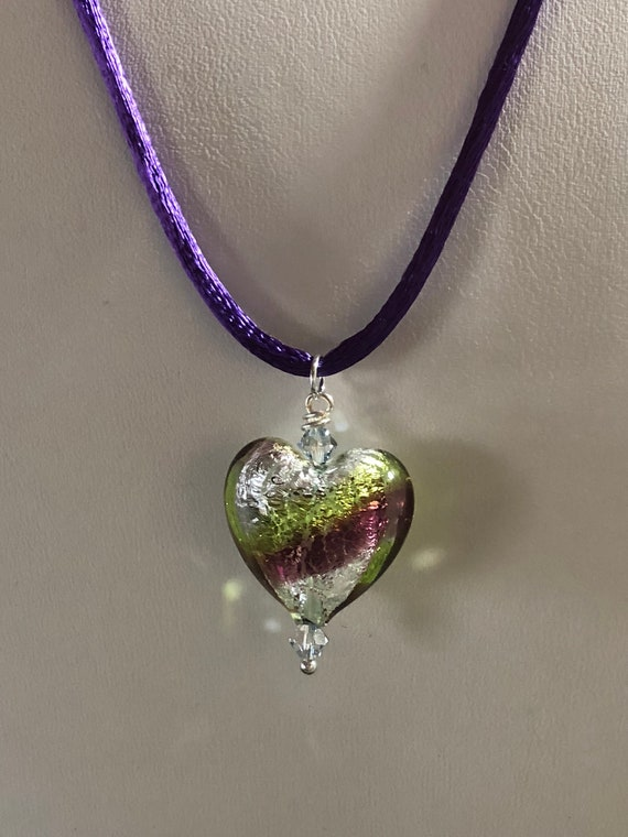 Murano Glass  Necklace Purple Puffy  Heart Pendant on Silk Cord Authentic Murano Gifts for Her Graduate Women Teen Teacher