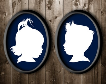 DIGITAL FILES ONLY 2 Traditional Profile Silhouettes of brother and sister, Silhouettes from your photo, Custom Sibling Art, Custom Wall Art