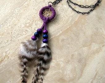 Dream Catcher Necklace - Feather Necklace, Purple Dreamcatcher Pendant- Feathered Dreams