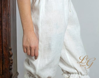 Linen White  Bloomers for  Woman Knee Length / Linen Cropped Trouser/ Linen White Pantaloons/ Linen Trouser Womens/ Flax Trouser Laced