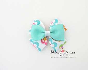 "Layered Hair Bow- Floral, 3.5"" Girls Hair Bow, Toddler Hair Bow, No Slip Alligator Clip for Baby Girl- Made to Order"