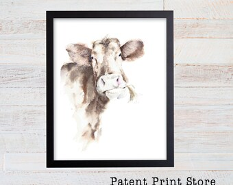 Watercolor Cow Print. Cow Art. Cow Decor. Cow Wall Art. Farmhouse Decor. Farmhouse Wall Decor. Farmhouse Art. Kitchen Art. Dining. 72