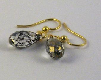 Swarovski briolettes crystal gold patina
