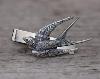 Silver Swallow Tie Bar