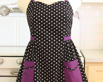 Plus Size Apron - Polka Dot Black White with Purple