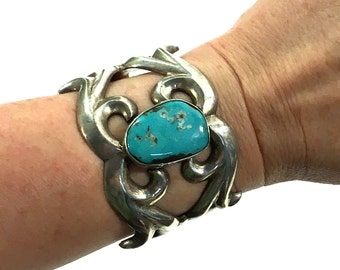 """60s Navajo Sterling Cuff / Vintage Native American Sand Cast Silver & Turquoise Bracelet / Large 1.75"""" Tall Southwest Boho Women Small Wrist"""