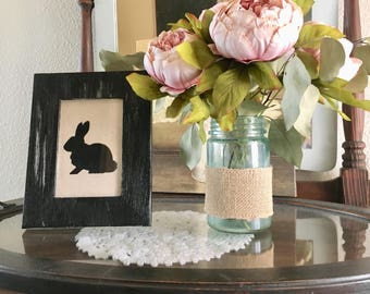 Hand-Stenciled Rabbit Print on Fabric in Hand-Painted Distressed Frame