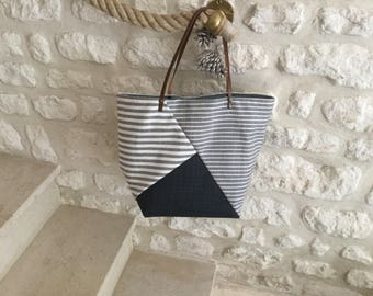 Cotton pattern small tote bag has blue gray stripes